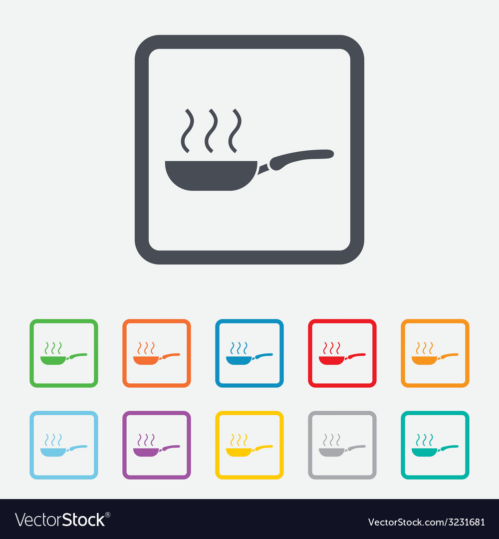 Frying pan sign icon fry or roast food symbol vector   Price: 1 Credit (USD $1)