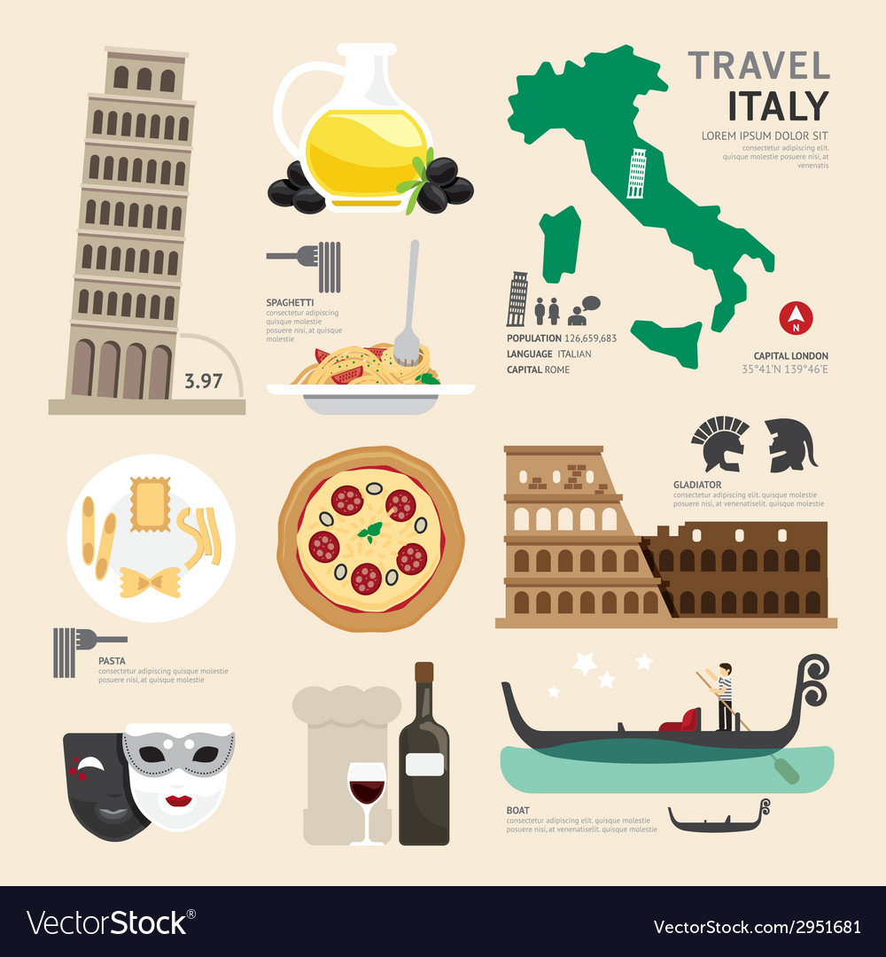 Italy flat icons design travel concept vector | Price: 1 Credit (USD $1)