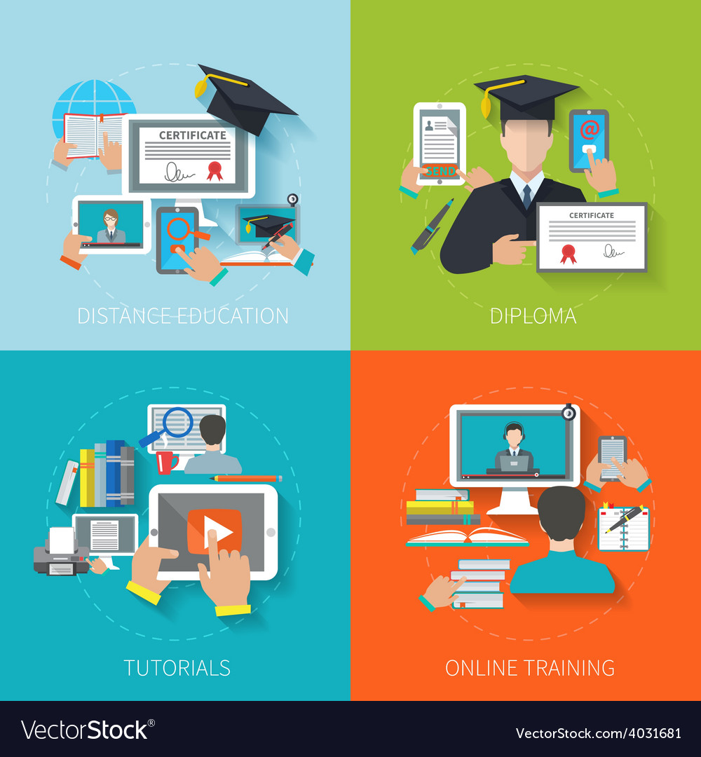 Online education flat vector | Price: 1 Credit (USD $1)