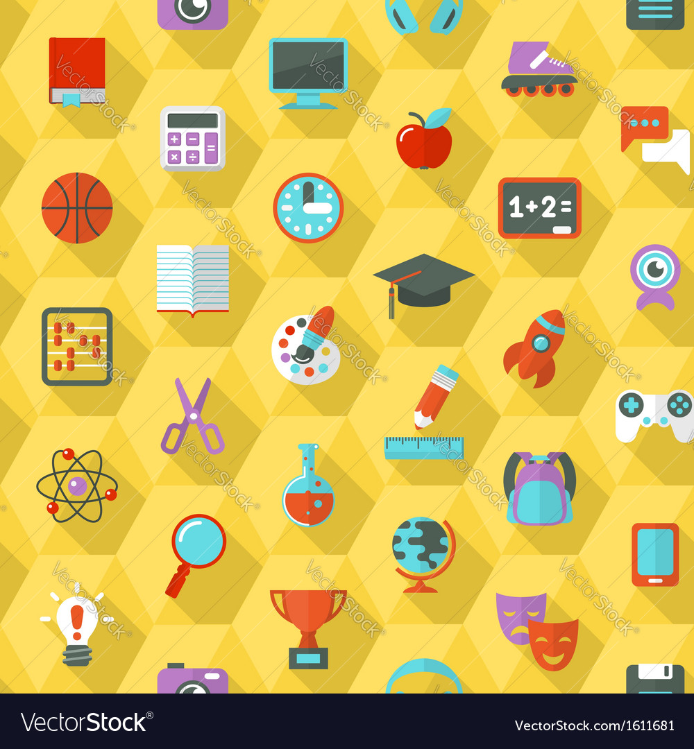 School hexagon pattern vector