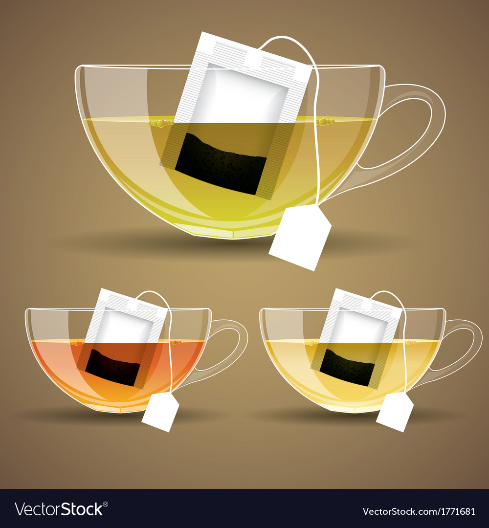 Set of glass cup with tea vector | Price: 1 Credit (USD $1)