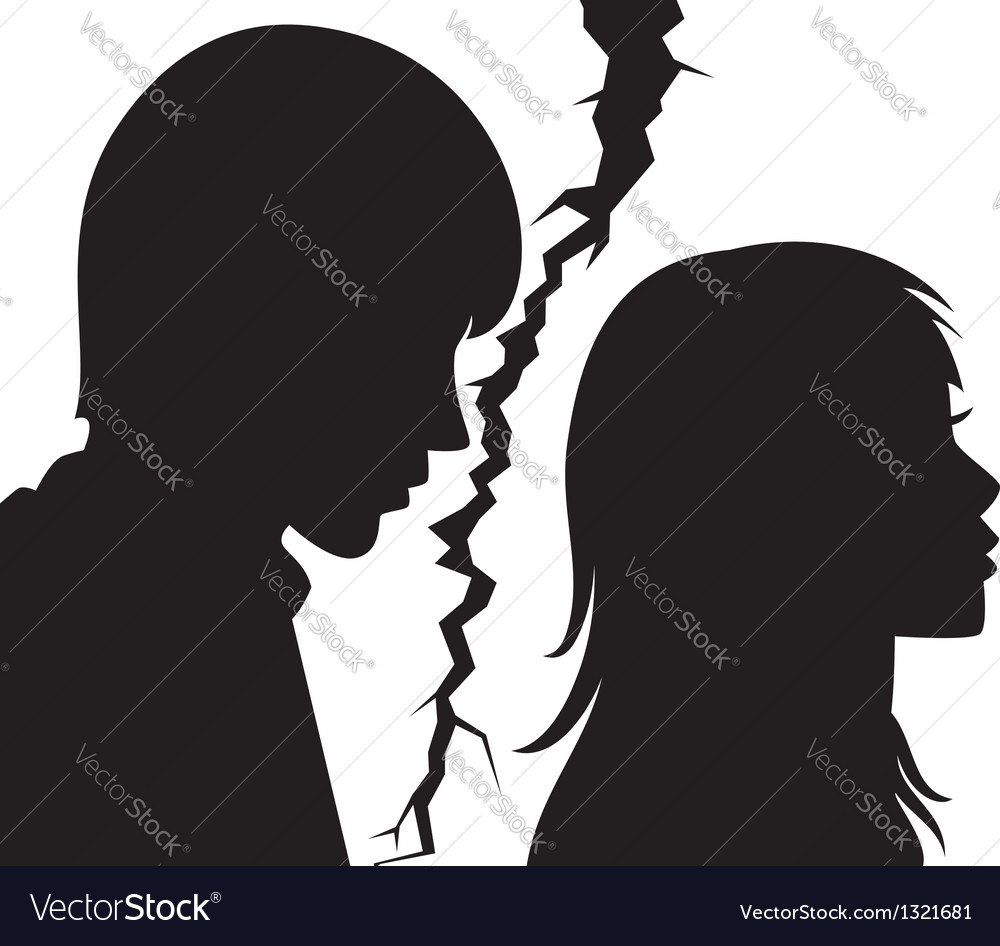 Silhouette of young man and woman vector | Price: 1 Credit (USD $1)