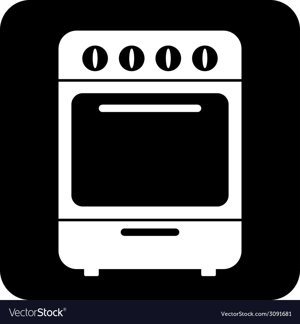 Stove symbol button vector | Price: 1 Credit (USD $1)