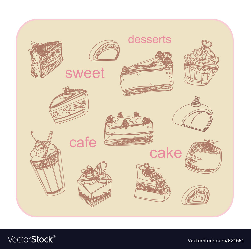 Sweet dessert background vector | Price: 1 Credit (USD $1)