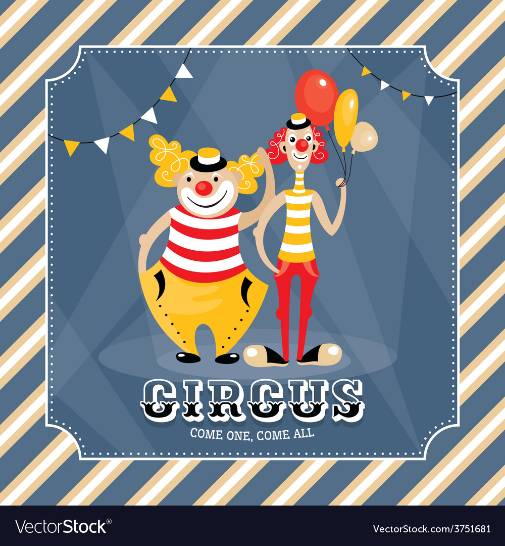 Vintage card with clowns vector | Price: 1 Credit (USD $1)
