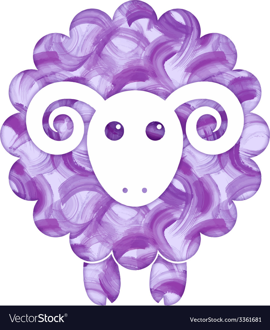 Watercolor cute sheep vector | Price: 1 Credit (USD $1)