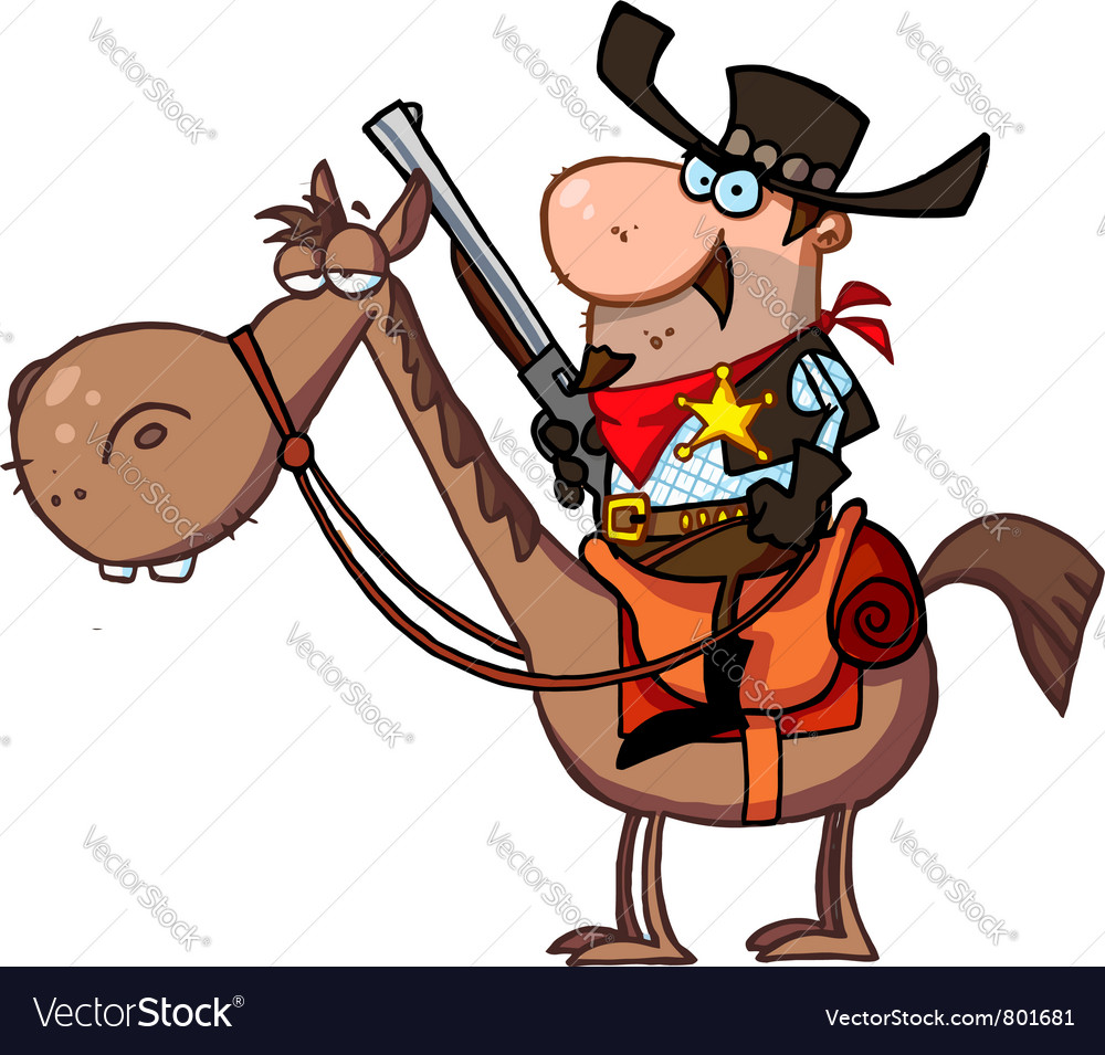 Western sheriff on a horse vector | Price: 3 Credit (USD $3)