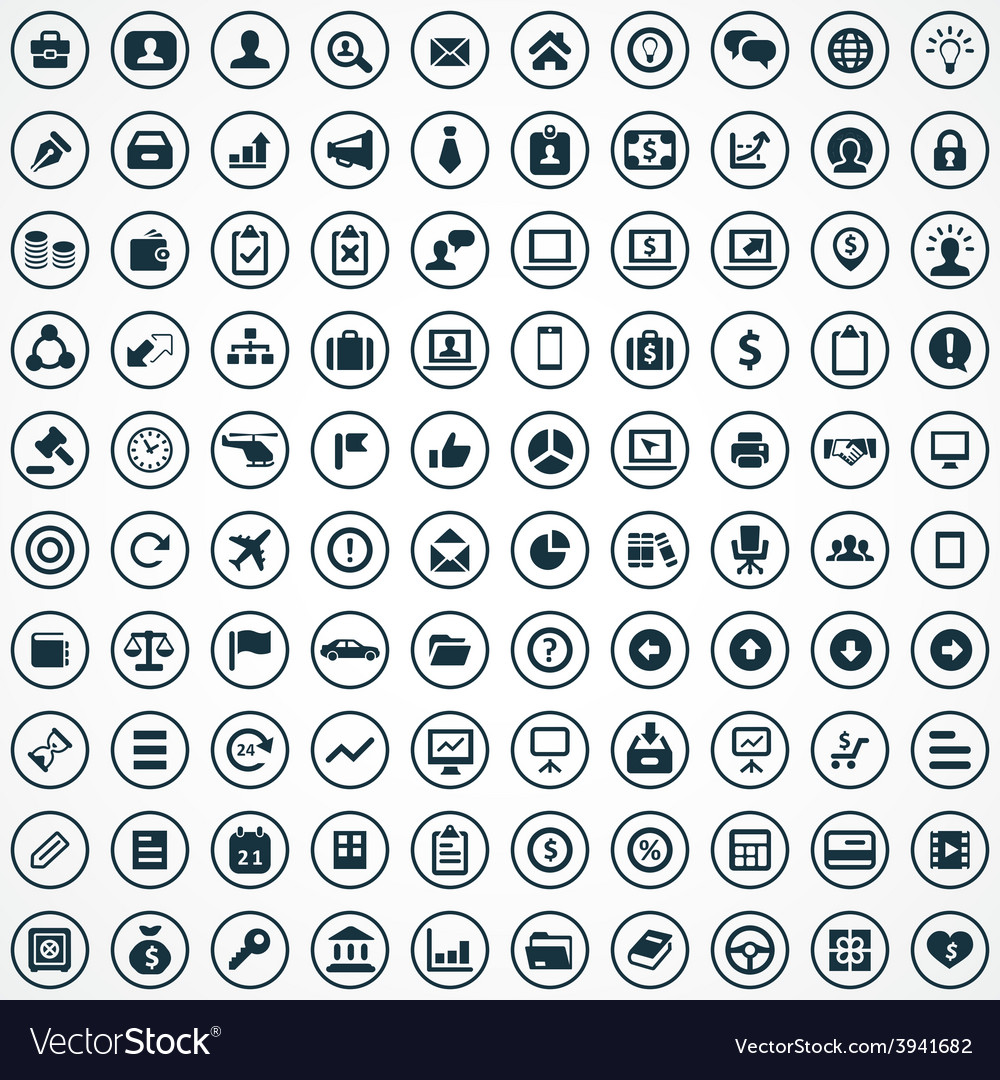100 business icons set vector | Price: 1 Credit (USD $1)