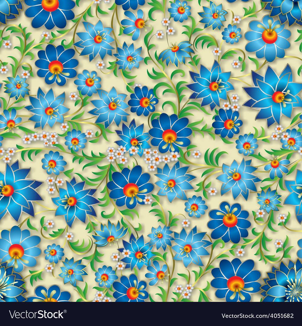 Abstract blue spring seamless floral ornament and vector | Price: 1 Credit (USD $1)