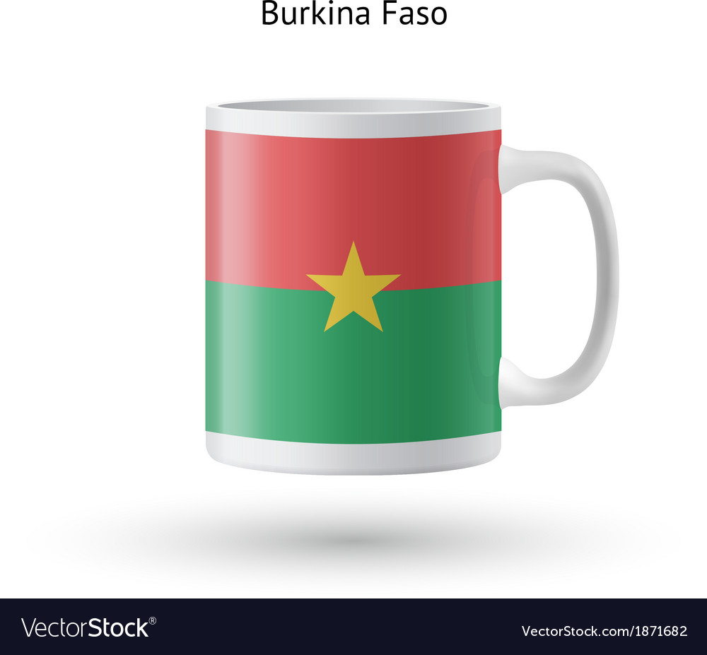 Burkina faso flag souvenir mug on white background vector | Price: 1 Credit (USD $1)