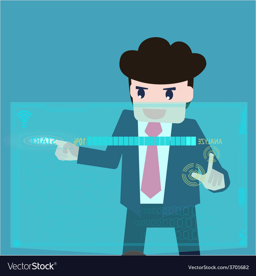 Businessman are analyzed data at computer screen vector | Price: 1 Credit (USD $1)