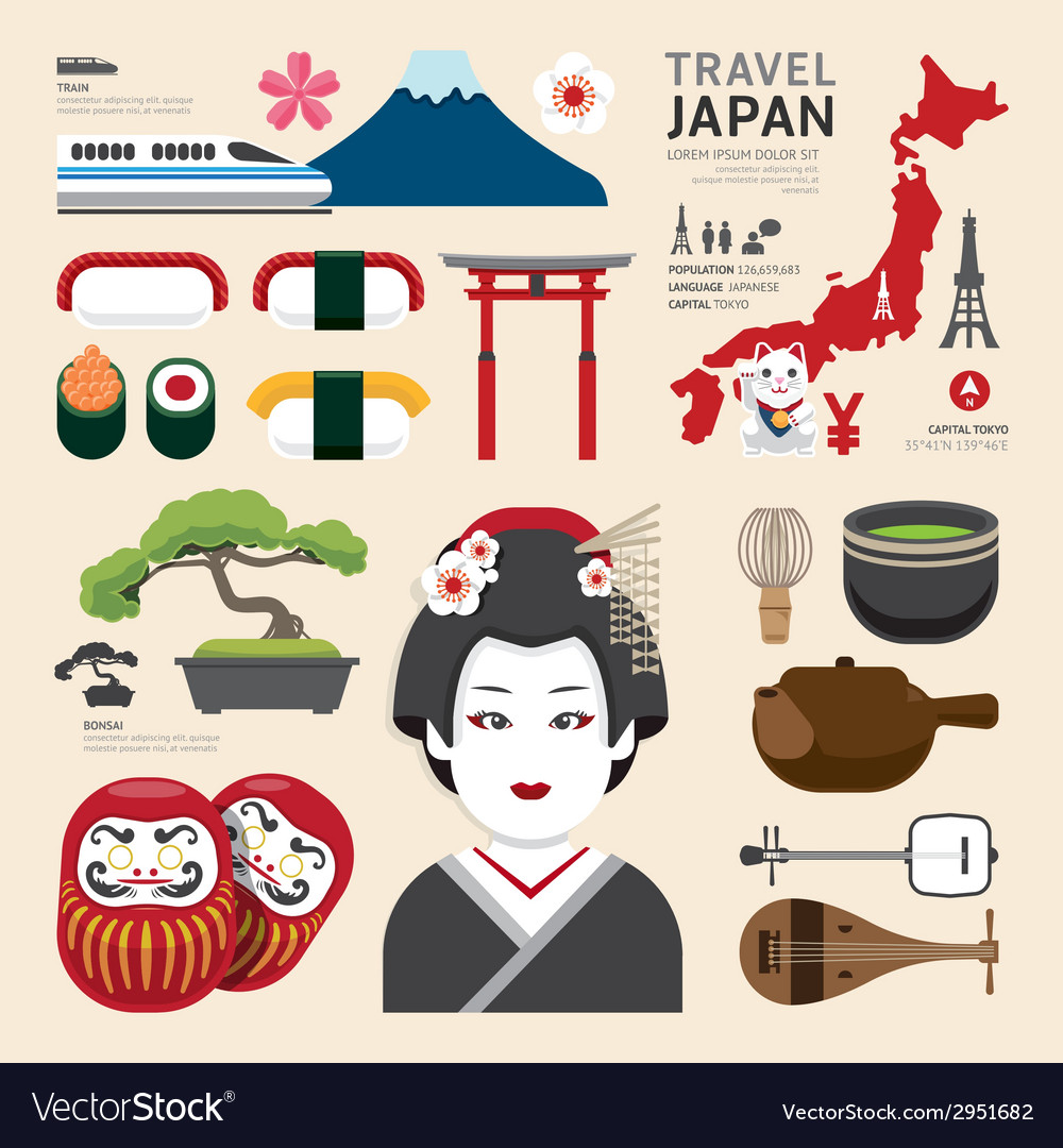 Japan flat icons design travel concept vector
