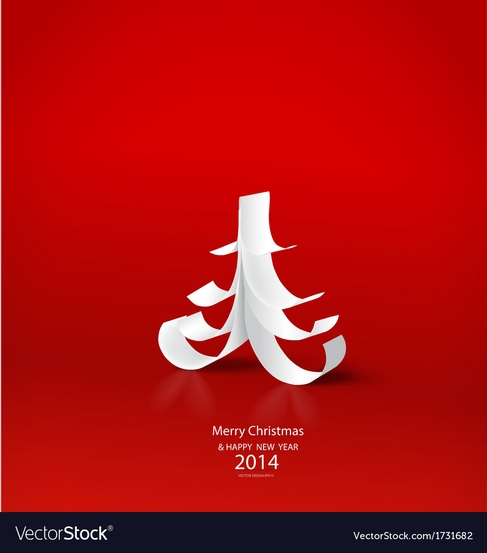 Merry christmas greeting card with origami vector | Price: 1 Credit (USD $1)
