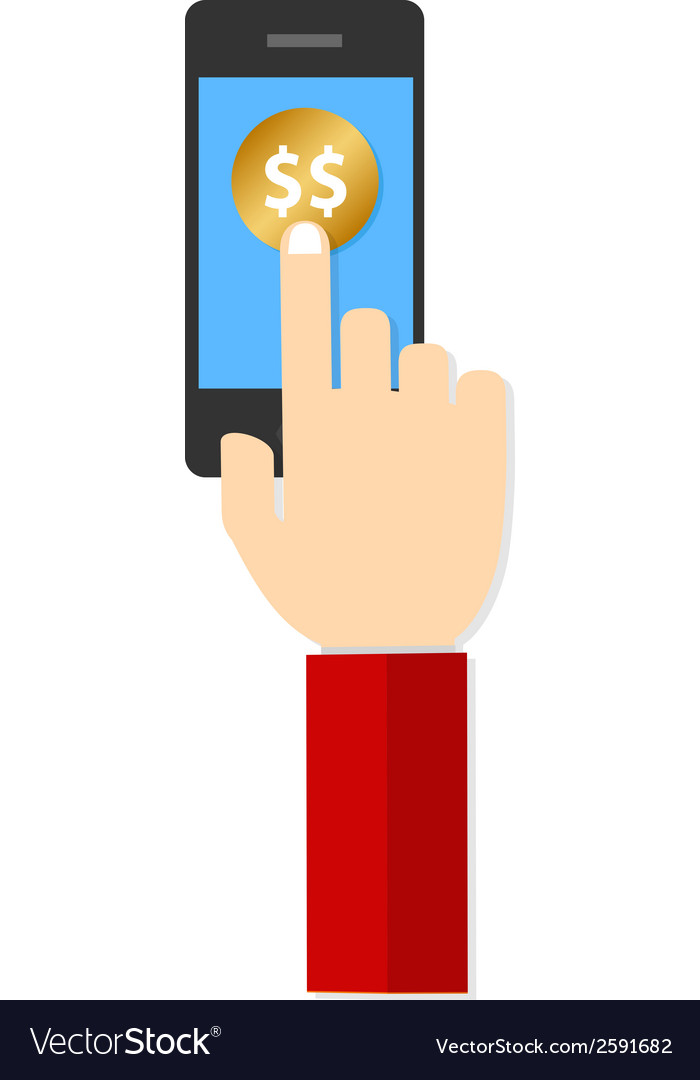 Money hand hold touch screen on mobile phone vector | Price: 1 Credit (USD $1)