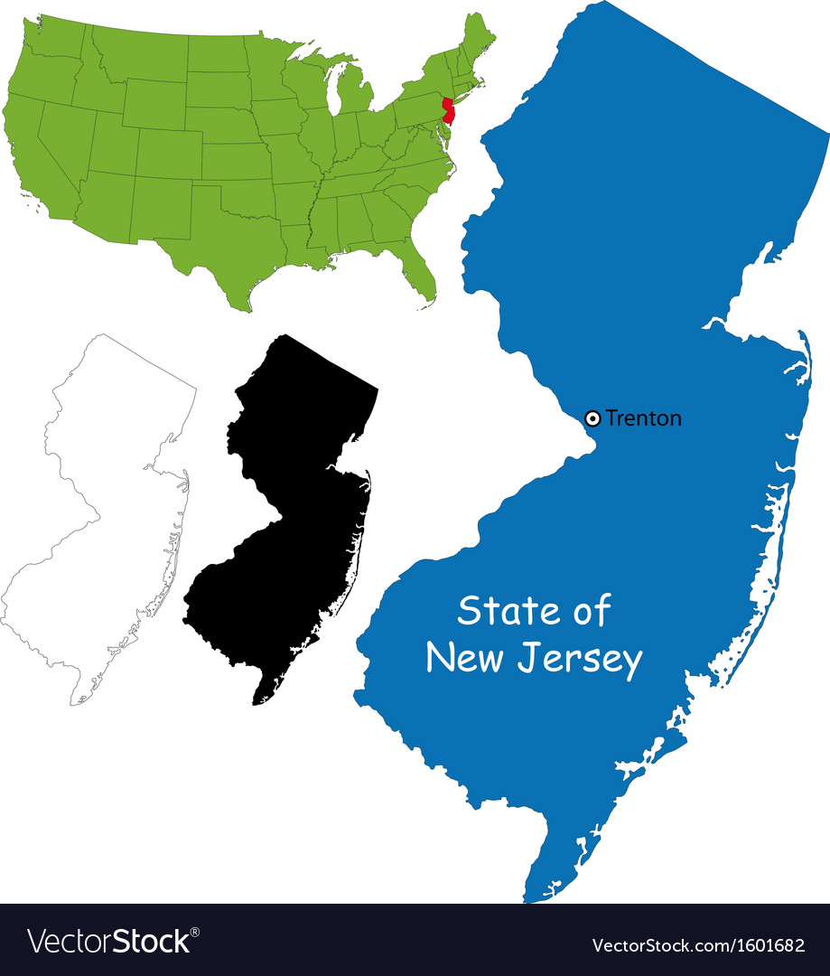 New jersey map vector   Price: 1 Credit (USD $1)
