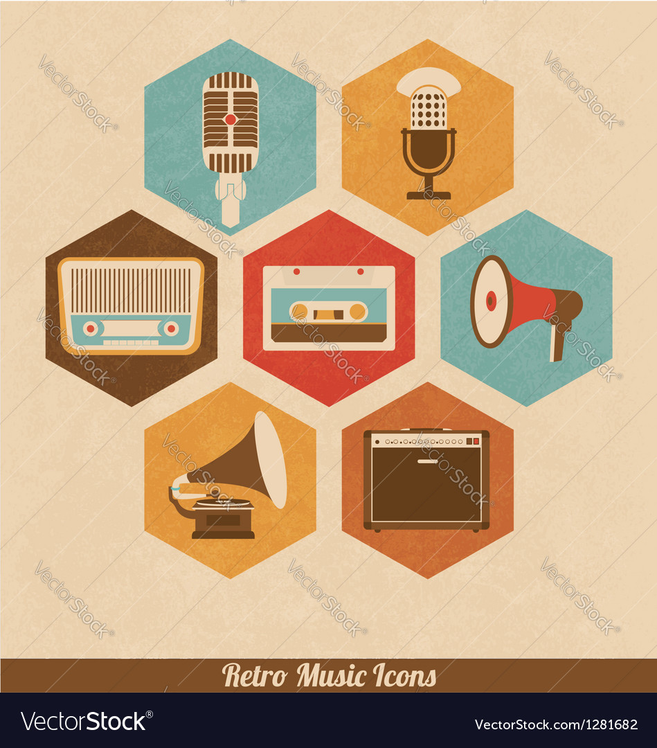 Retro music icons vector | Price: 1 Credit (USD $1)