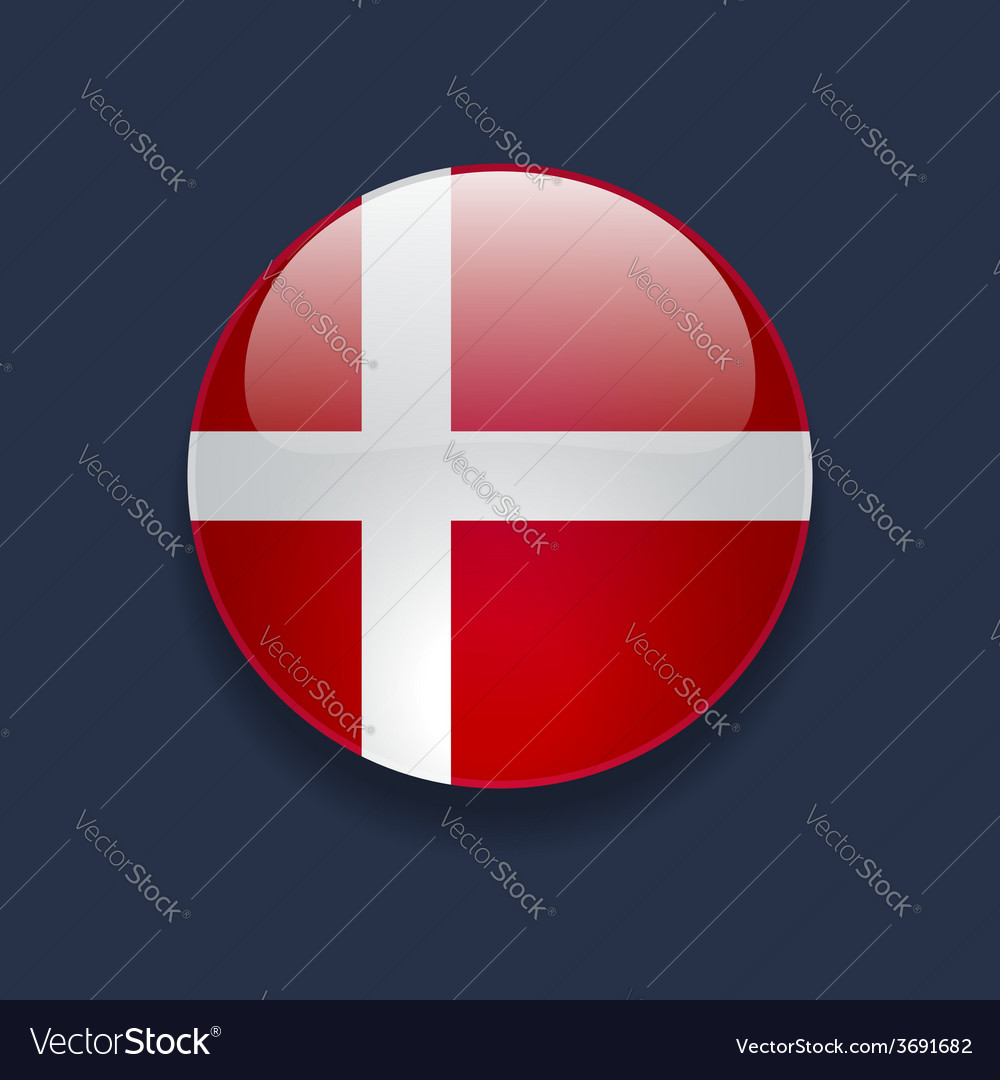 Round icon with flag of denmark vector | Price: 1 Credit (USD $1)