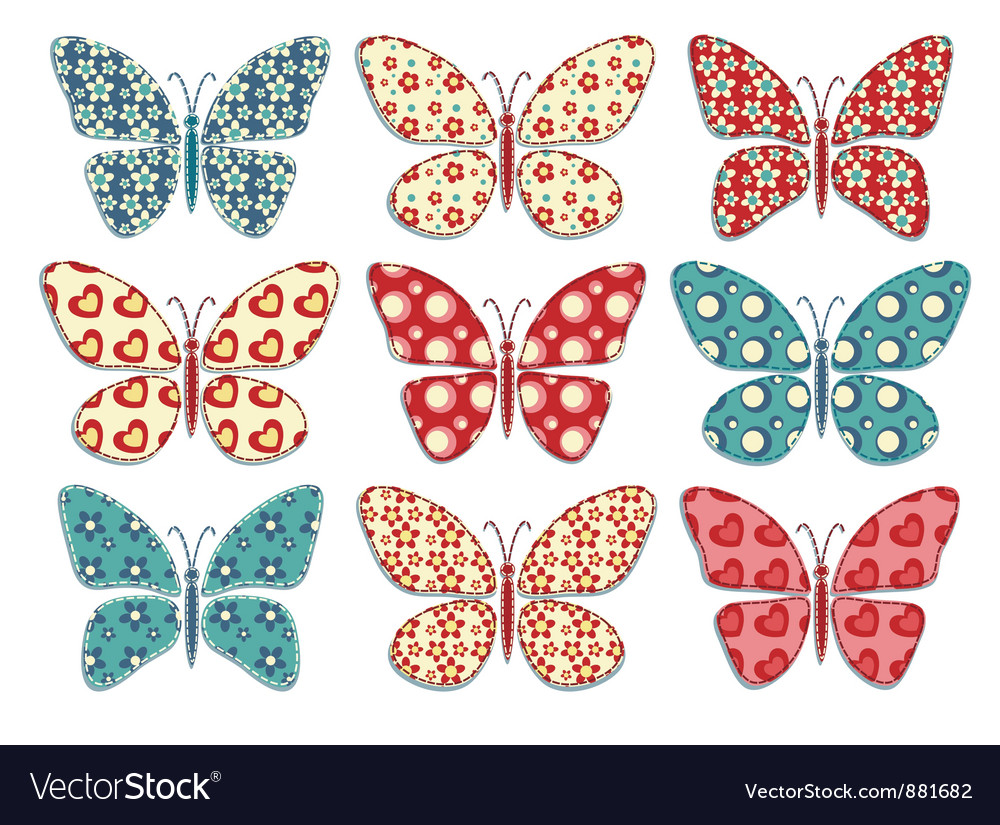Set of patchwork butterflys 1 vector | Price: 1 Credit (USD $1)