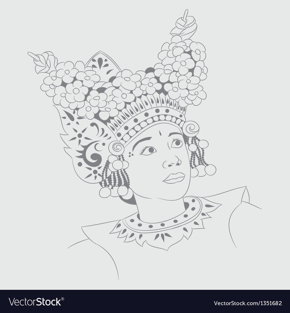 Sketch legong dance vector | Price: 1 Credit (USD $1)