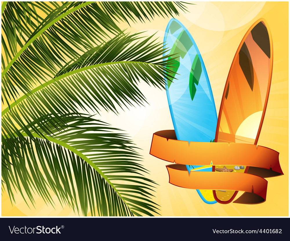 Summer tropical surfboard with banner vector | Price: 3 Credit (USD $3)