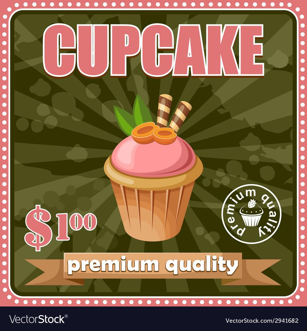 Vintage cupcake poster vector | Price: 1 Credit (USD $1)