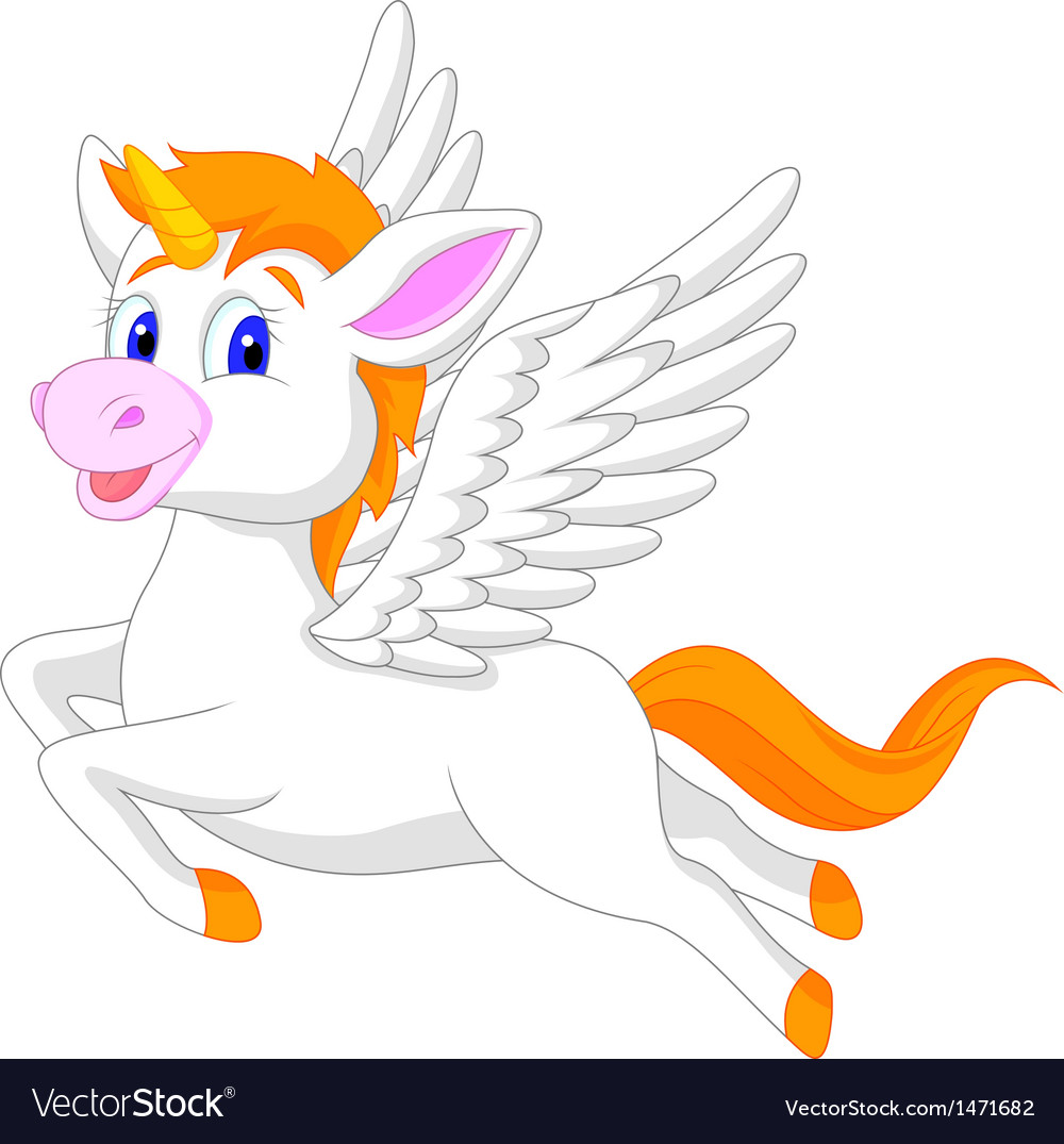 White unicorn horse cartoon vector | Price: 1 Credit (USD $1)
