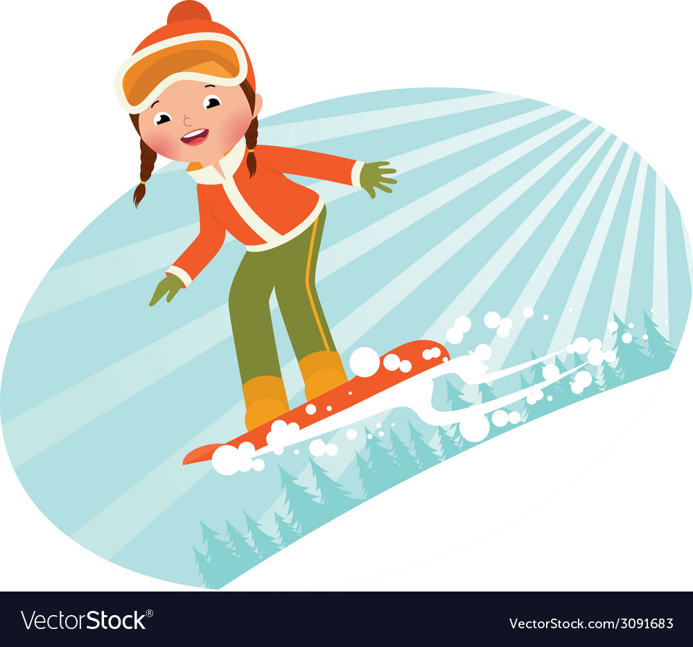 Girl on snowboard vector | Price: 1 Credit (USD $1)