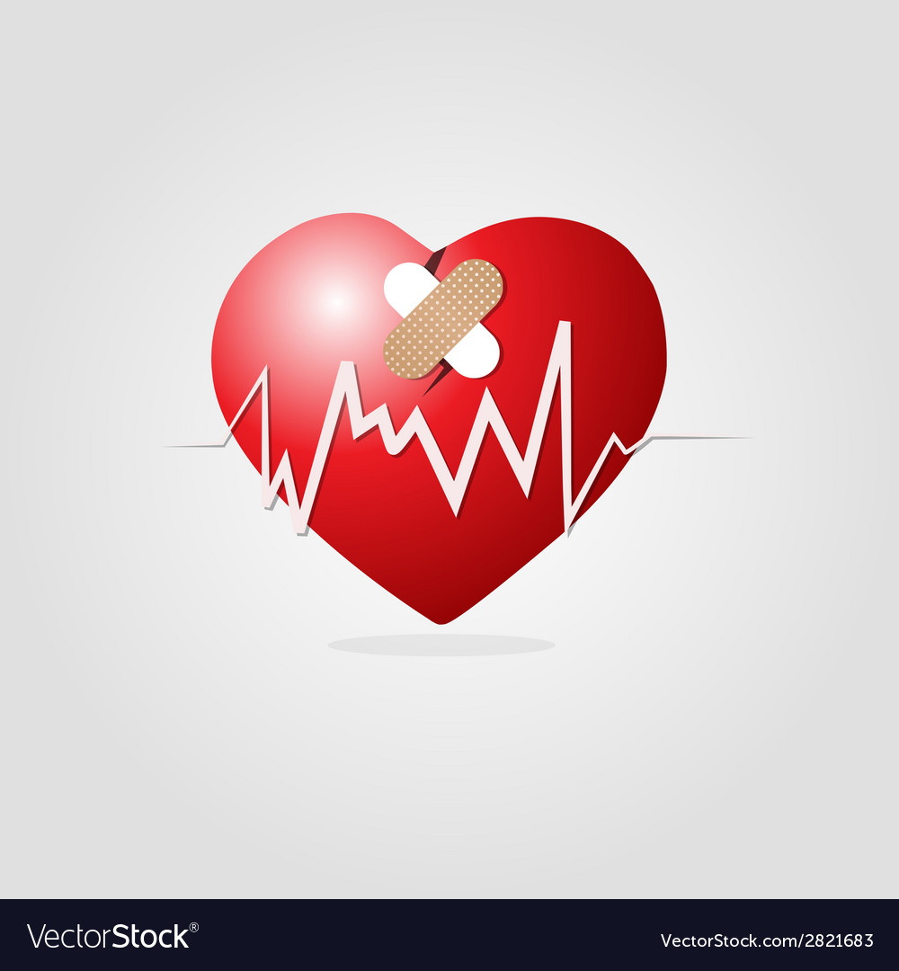 Heart with plaster and graph vector | Price: 1 Credit (USD $1)