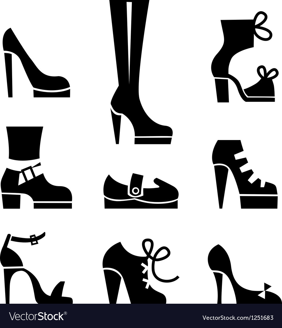 Icons of female footwear vector | Price: 1 Credit (USD $1)