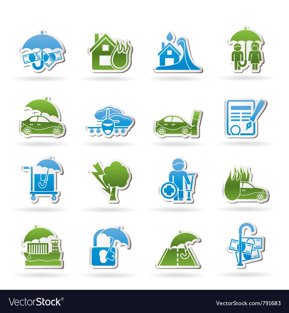 Insurance and risk icons vector   Price: 1 Credit (USD $1)