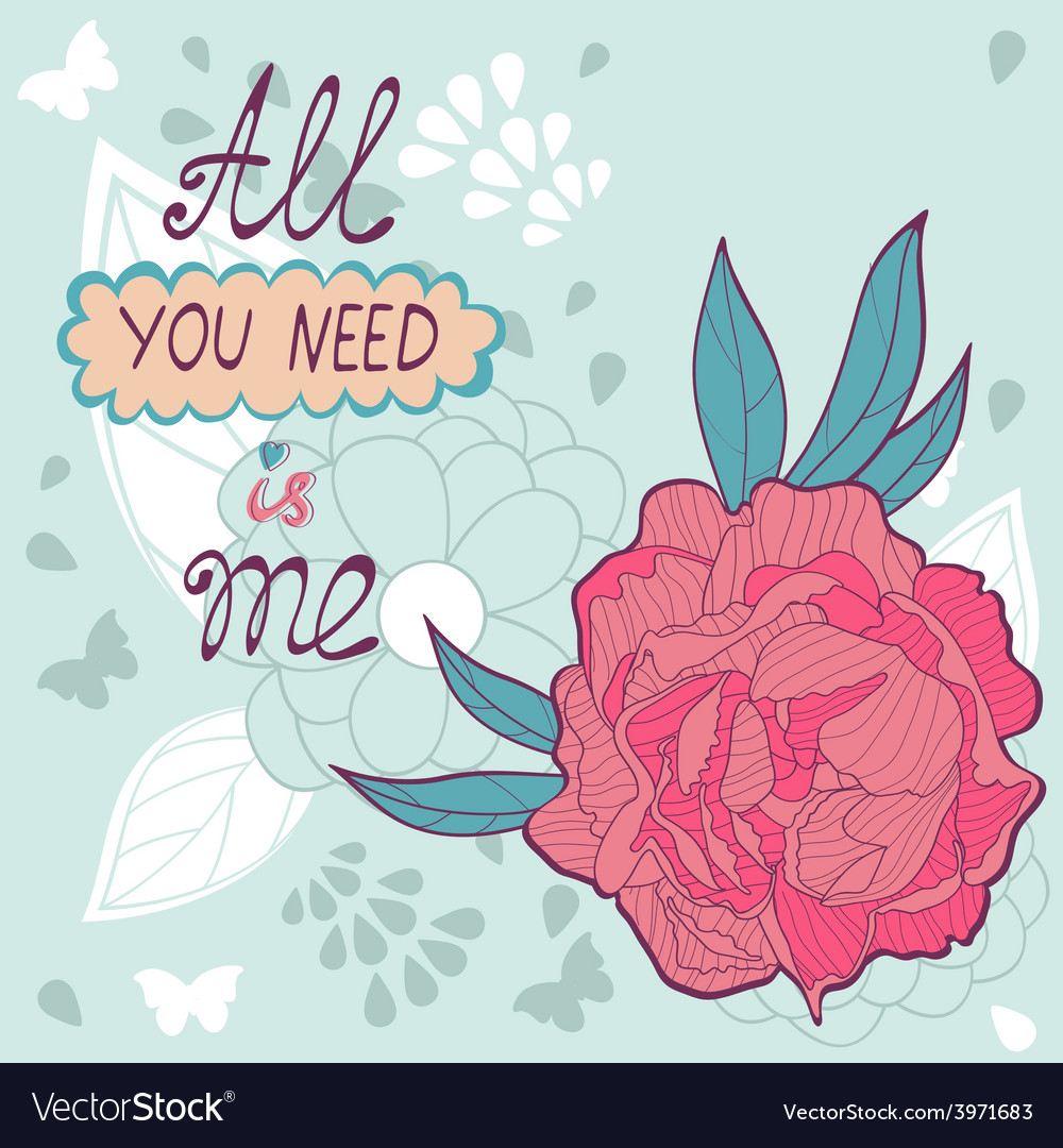 Love card with peonies vector | Price: 1 Credit (USD $1)