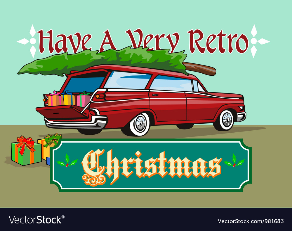 Retro christmas tree station wagon vector | Price: 3 Credit (USD $3)