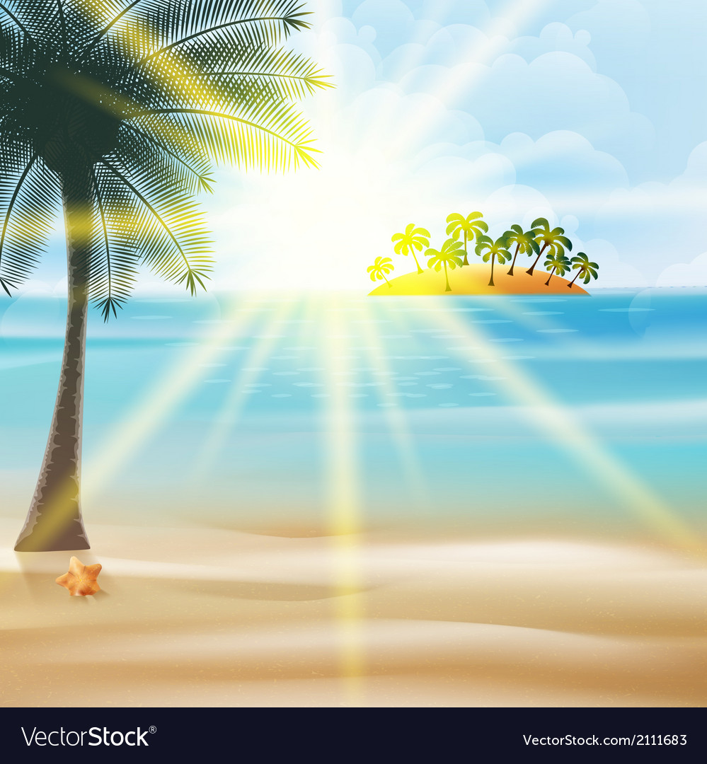 Seaside view poster with palm trees vector | Price: 1 Credit (USD $1)