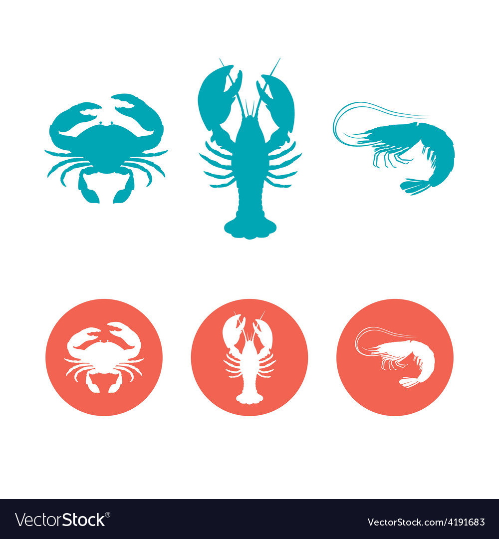 Set of the seafood flat icons vector | Price: 1 Credit (USD $1)