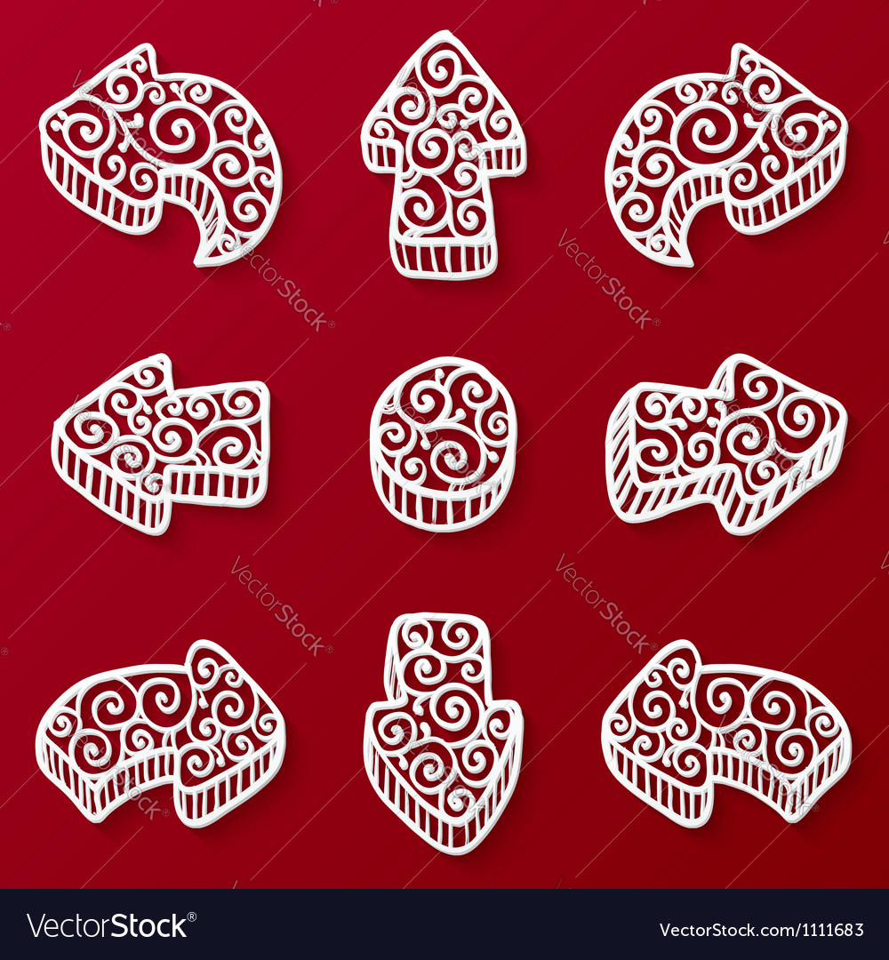 Set of white ornate doodle arrow vector | Price: 1 Credit (USD $1)
