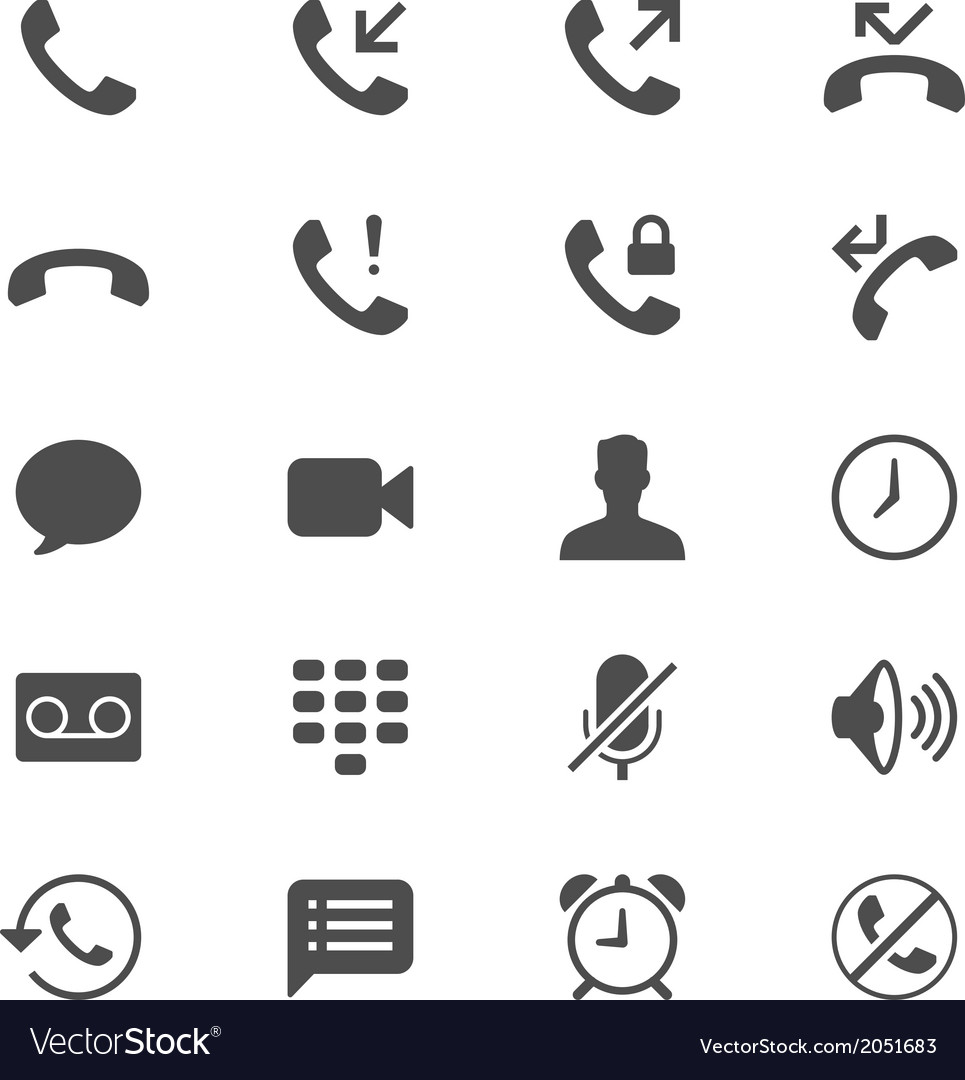 Telephone flat icons vector | Price: 1 Credit (USD $1)