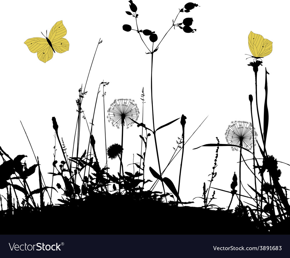 Traced graphic elements weeds and butterflies vector | Price: 1 Credit (USD $1)