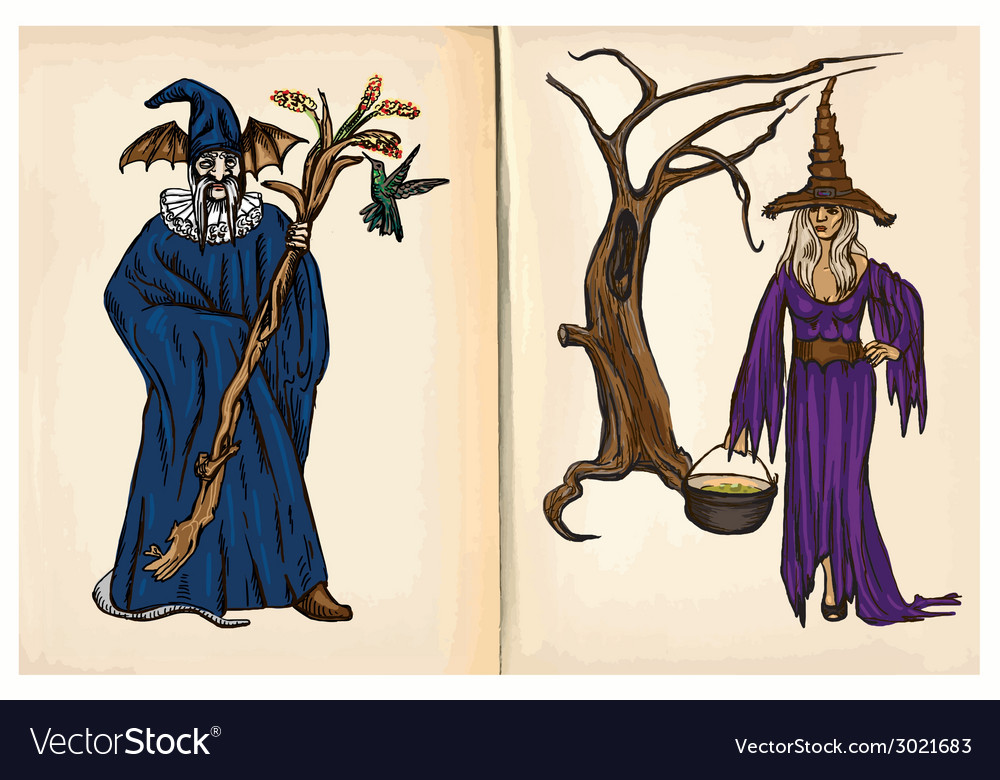 Witch and wizard - hand drawings vector | Price: 1 Credit (USD $1)