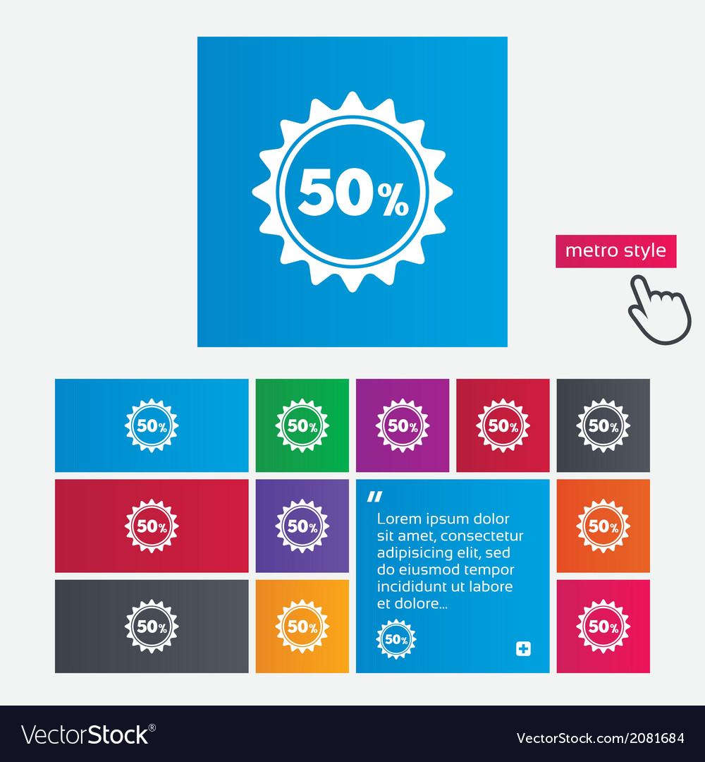 50 percent discount sign icon sale symbol vector   Price: 1 Credit (USD $1)