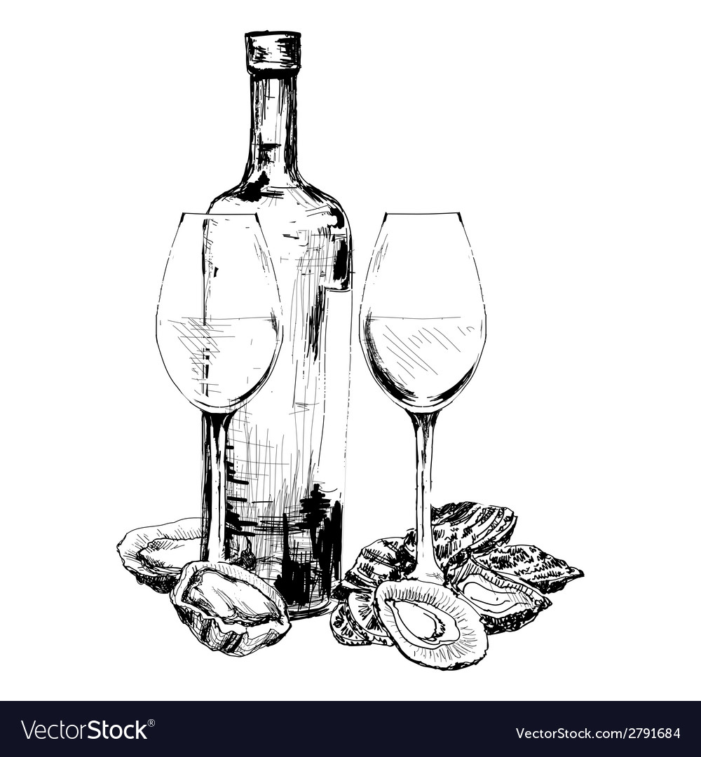 Bottle of wine oysters and two glasses vector | Price: 1 Credit (USD $1)