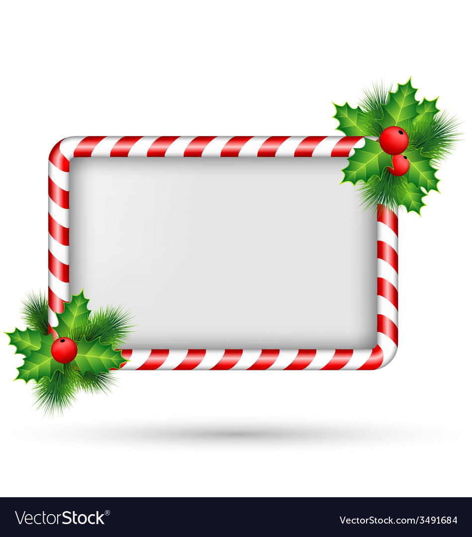 Candy cane frame with holly isolated on white vector | Price: 1 Credit (USD $1)