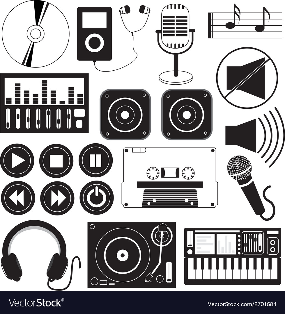Digital music and icons theme vector | Price: 1 Credit (USD $1)