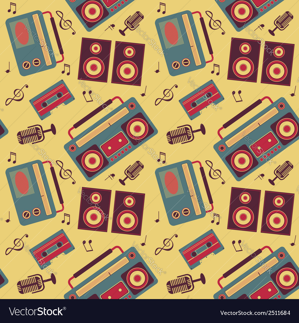 Retro music pattern vector | Price: 1 Credit (USD $1)