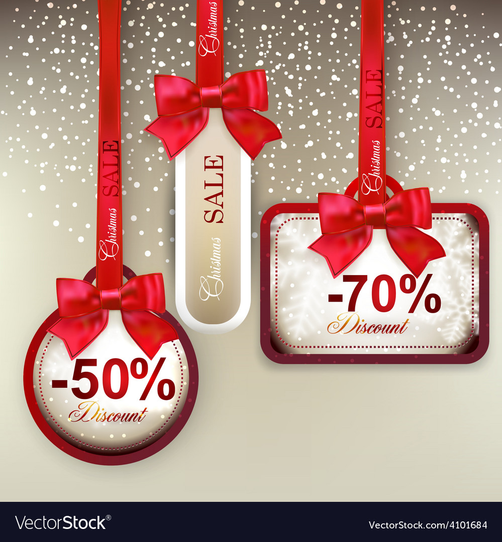 Sale labels with red gift bows vector | Price: 1 Credit (USD $1)