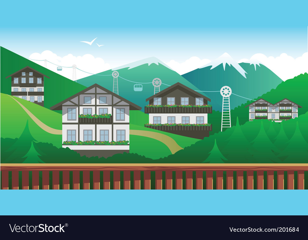 Swiss mountain resort vector | Price: 3 Credit (USD $3)
