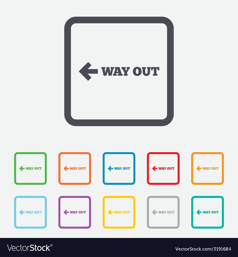 Way out left sign icon arrow symbol vector | Price: 1 Credit (USD $1)