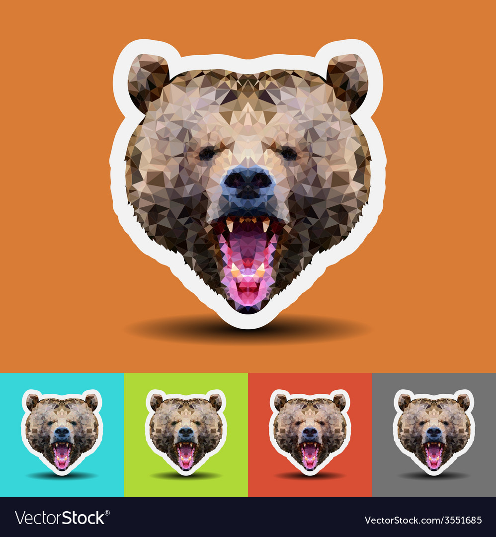 Beautiful bear head on geometric style vector | Price: 1 Credit (USD $1)