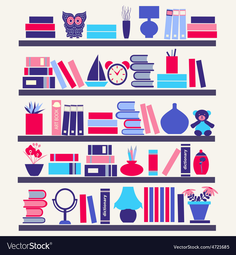 Books on the bookshelves vector   Price: 1 Credit (USD $1)