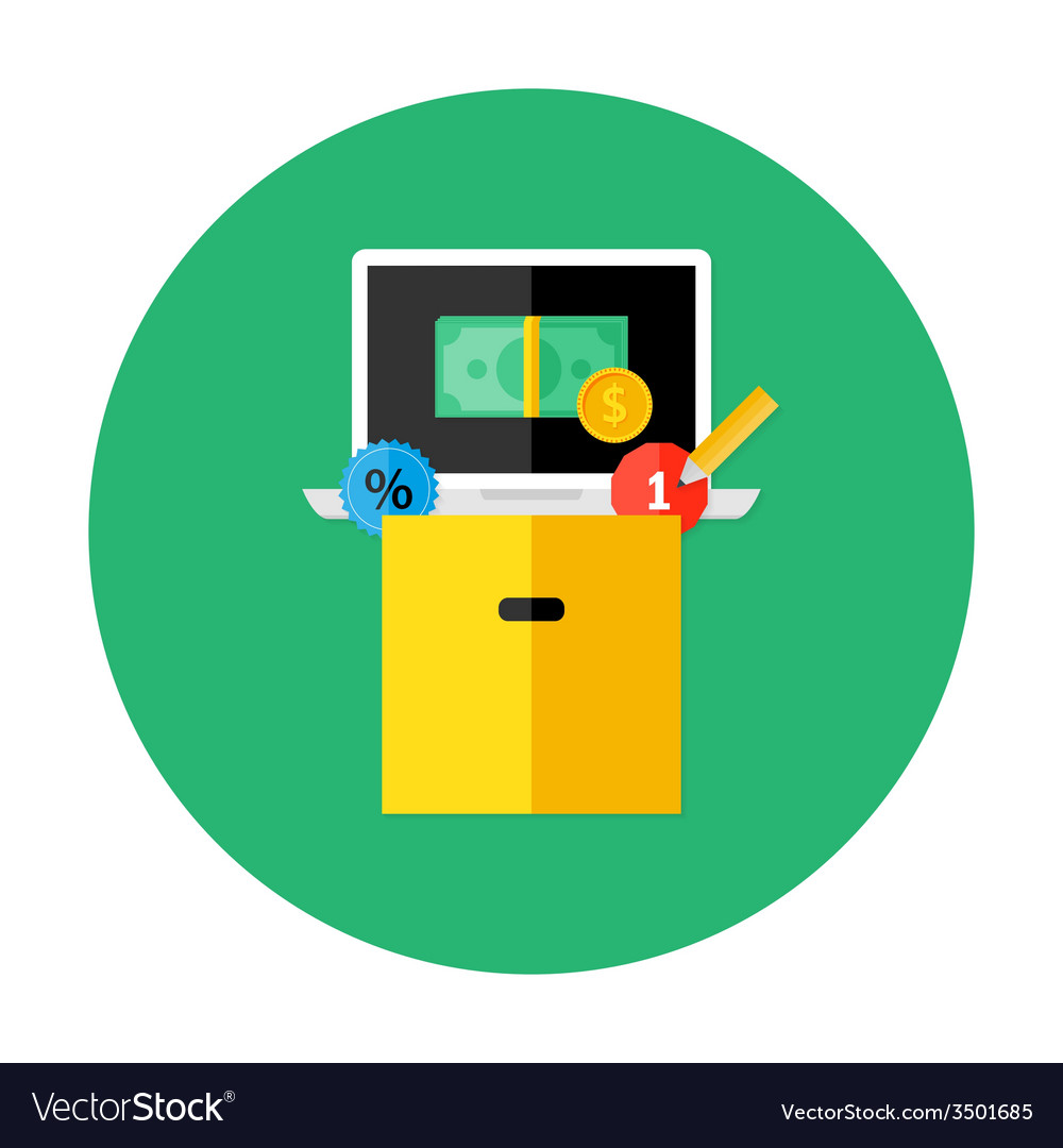 Box with money laptop and discount vector | Price: 1 Credit (USD $1)