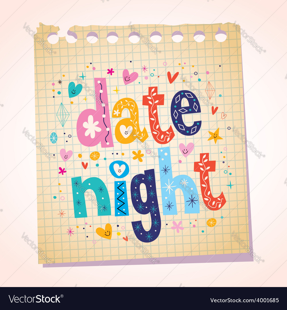 Date night notepad paper message reminder vector | Price: 1 Credit (USD $1)